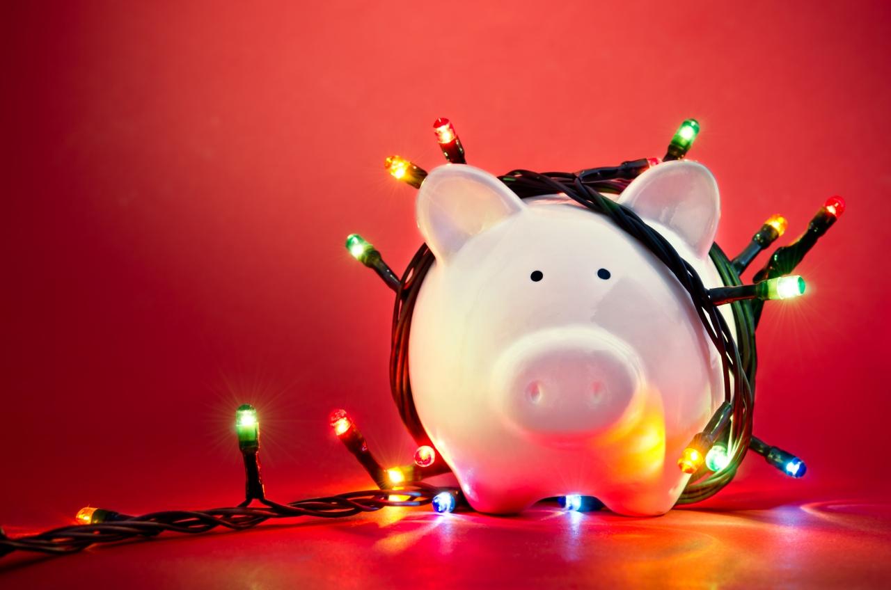 Piggy Bank with Christmas Lights | SOLFCU FInancial TIps